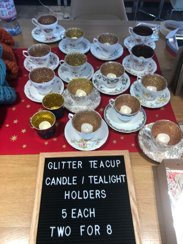Glitter teacup candles 1