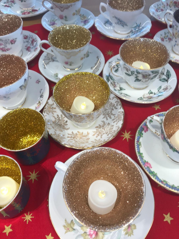 Glitter teacup candles