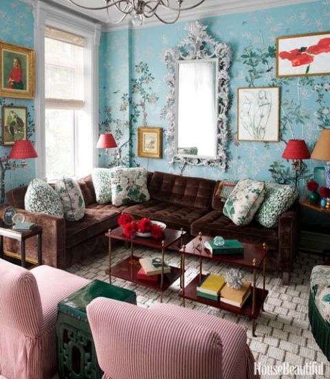 A Small Brooklyn Townhouse with Exotic Details and Luscious Colors
